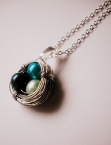 Birthstone Birds Nest Necklace